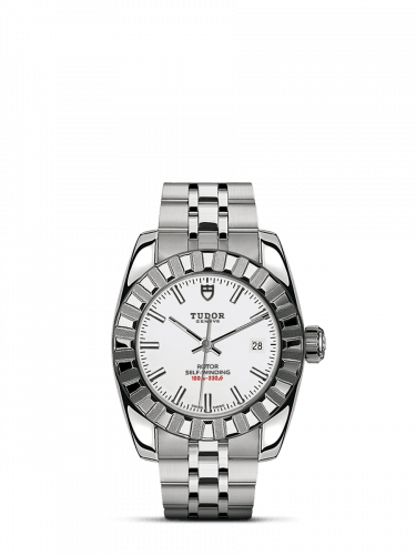 Classic 28 Stainless Steel / Fluted / White / Bracelet