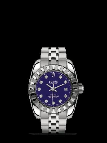 Classic 28 Stainless Steel / Fluted / Blue-Diamond / Bracelet