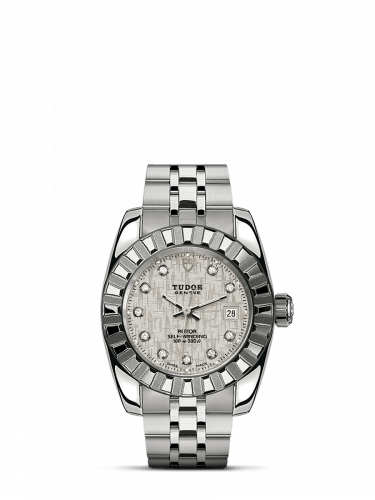 Classic 28 Stainless Steel / Fluted / Silver-Diamond / Bracelet
