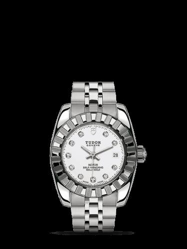 Classic 28 Stainless Steel / Fluted / White-Diamond / Bracelet
