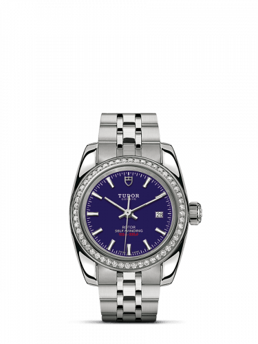 Classic 28 Stainless Steel / Diamond / Blue / Bracelet
