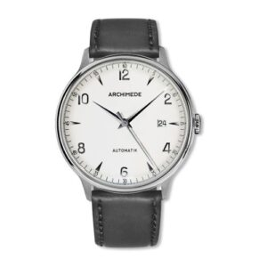 1950-2 Stainless Steel / Silver / Black Leather