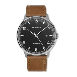 1950-2 Stainless Steel / Black / Brown Leather