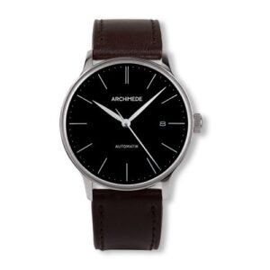1950-1 Stainless Steel / Black / Black Leather
